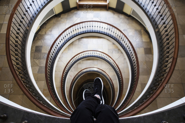 Copenhagen, Denmark - May 19, 2014. The staircase of Axelborg, the main building of the Danish Agriculture and Food Council in Copenhagen