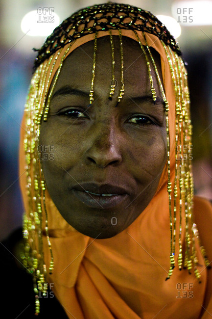 Cairo, Egypt - October 17th, 2008. A beautiful Egyptian woman with a pearly headdress