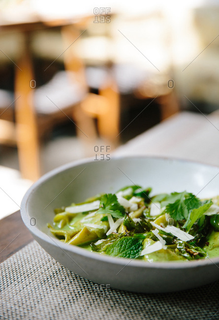 Hand torn pasta with green garlic served in a ceramic bowl
