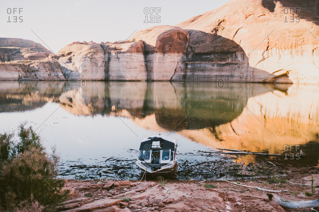 Boat on Lake Powell in Glen Canyon National Recreation Area