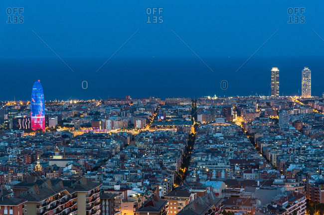 Views of city in the blue hour