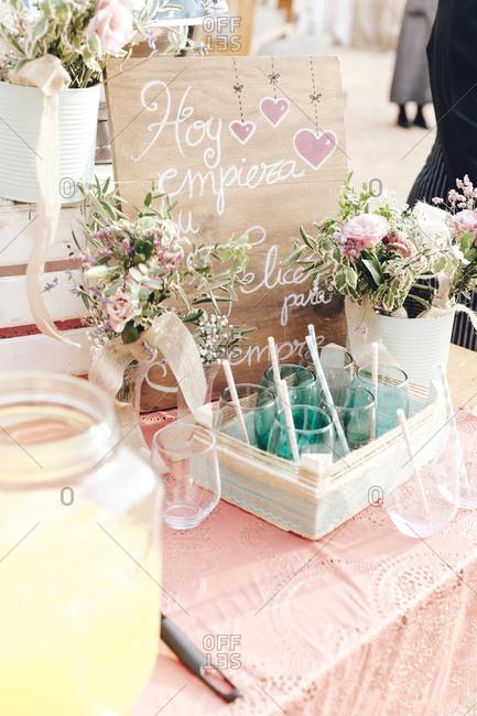 Wedding decorative glasses and juice