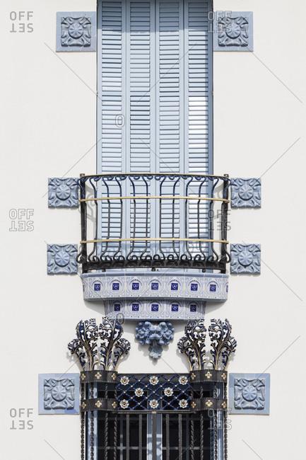 Exterior detail view of Casa Blaua, Blue House, Cadaques, Catalonia, Spain