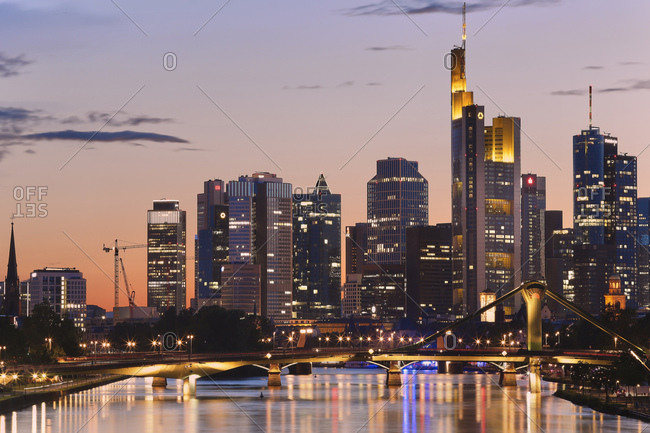 Frankfurt, Germany - June 22, 2017: Skyline at dusk