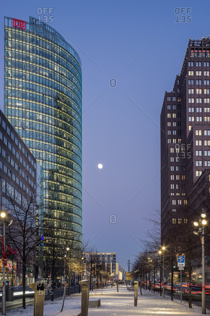 Berlin, Germany - June 22, 2017: Potsdamer Platz, with Bahn Tower and Daimler Chrysler Building