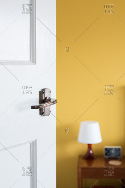 Interior view of terraced House, South Shields, UK, close up of door to bedroom