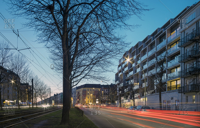 Berlin, Germany - June 22, 2017: Exterior view of the facade of Paragon Apartments