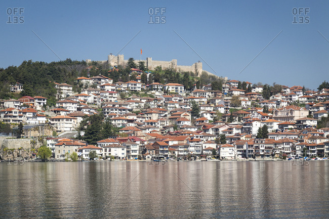 Ohrid, Macedonia, seen from Lake Ohrid, with the medieval Fort Samuel perched above it