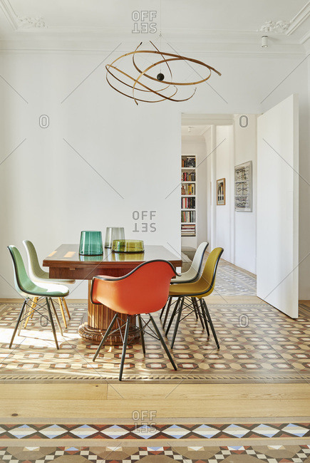Barcelona, Spain - June 22, 2017: Interior view of Bruc Apartment,  Dining area