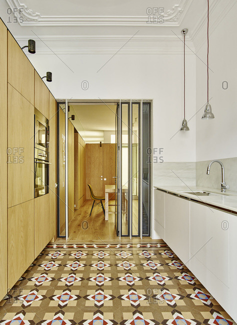 Interior view of Bruc Apartment, Barcelona, Spain Kitchen