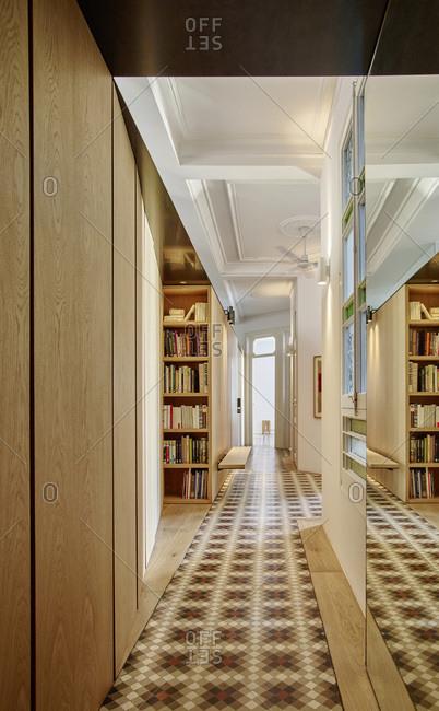 Barcelona, Spain - June 22, 2017: Interior view of Bruc Apartment,  Corridor