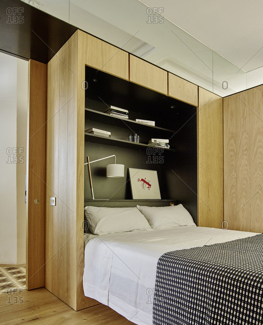 Barcelona, Spain - June 22, 2017: Interior view of Bruc Apartment,  Bedroom