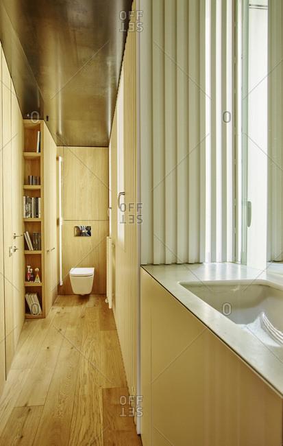 Barcelona, Spain - June 22, 2017: Interior view of Bruc Apartment,  Bathroom