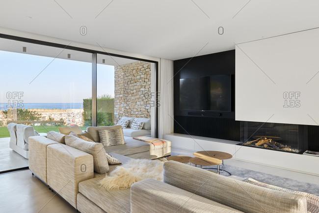 L'Ametlla de Mar, Spain - June 22, 2017: Interior view of J&P House - White Houses, Port Calafat, Spain Living area