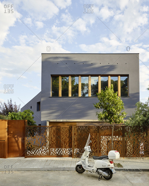 Barcelona, Spain - June 22, 2017: Exterior view of Casa Creueta, Facade