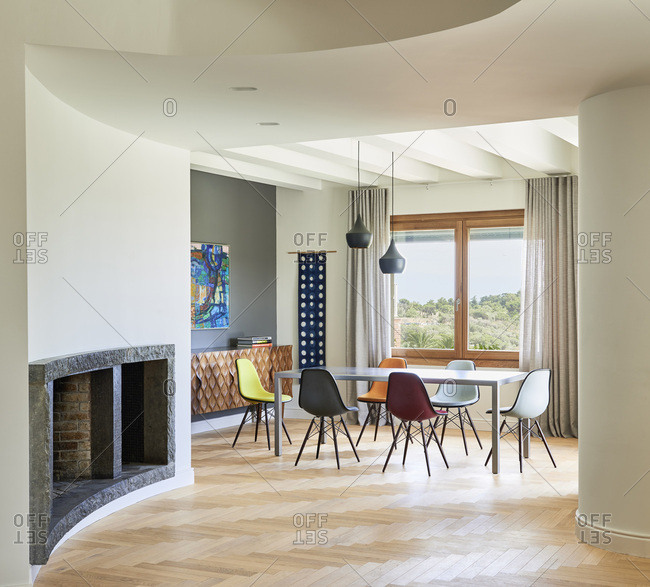Barcelona, Spain - June 22, 2017: Interior view of Casa Creueta, Dining area