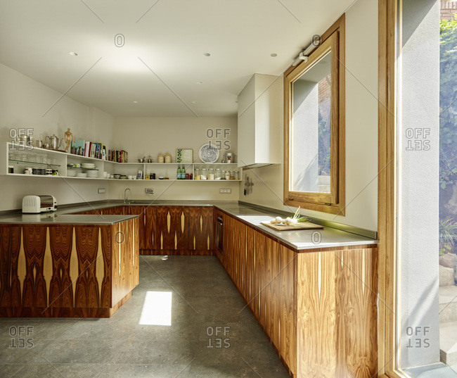 Barcelona, Spain - June 22, 2017: Interior view of Casa Creueta, Kitchen