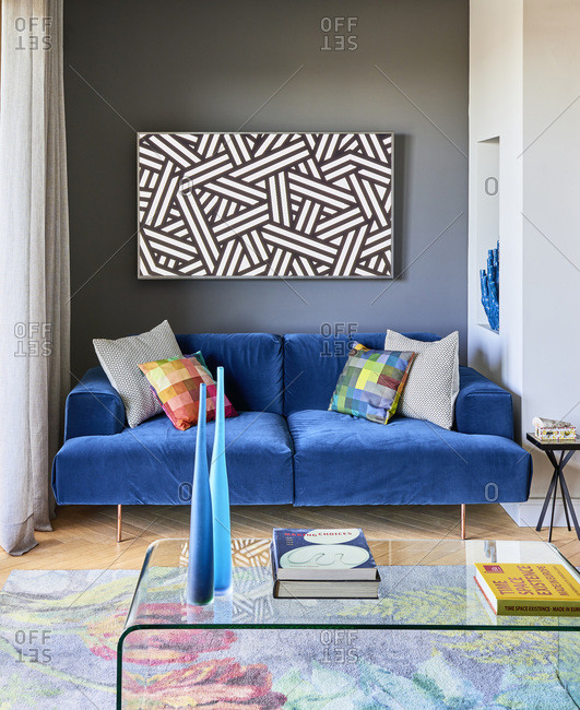 Barcelona, Spain - June 22, 2017: Interior view of Casa Creueta, Living area with sofa and coffee table
