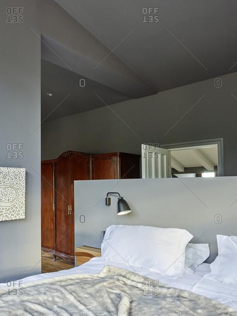 Barcelona, Spain - June 22, 2017: Interior view of Casa Creueta, Bedroom