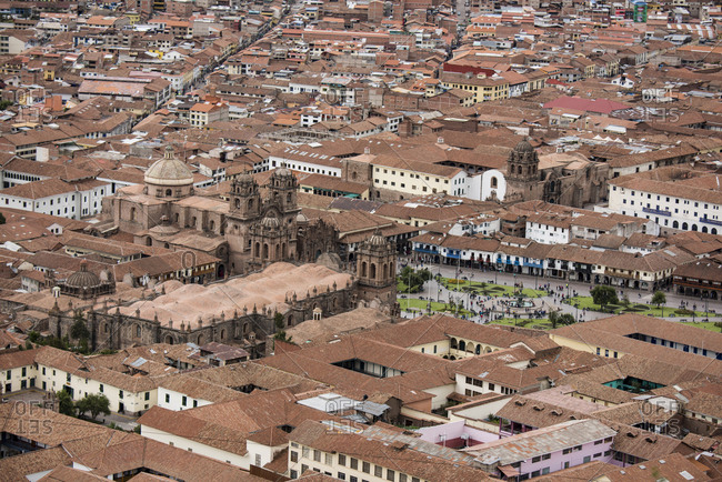 Cusco, Peru - January 24, 2017: The cathedral and town square