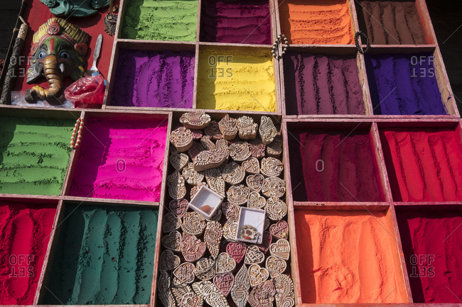 Display of printing stamps and dyes at a market stall in Kathmandu