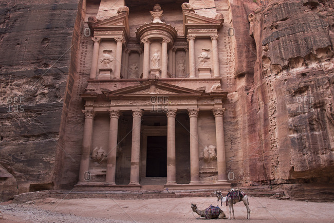 The Treasury carved out of a sandstone rock face