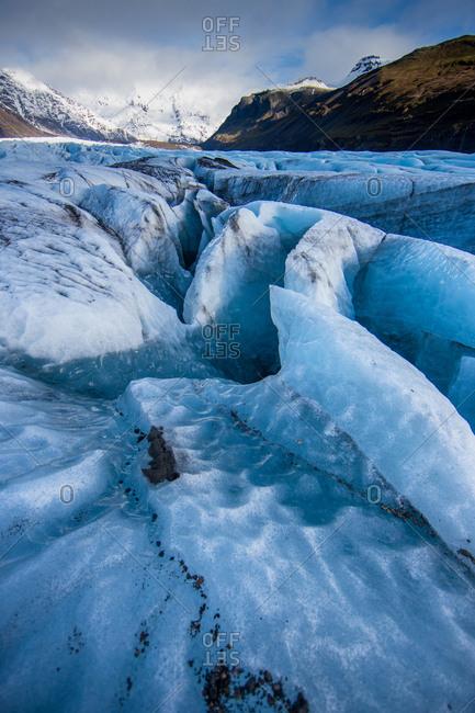 Crevasses split the Vatnajokull glacier