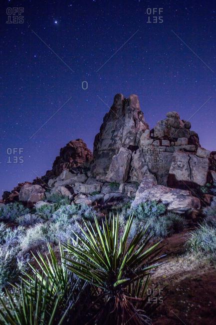 The desert rocks of Joshua Tree National Park at night