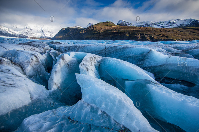 Crevasses split the Vatnajokull glacier