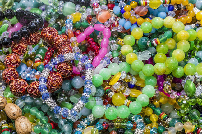 Beads for sale at a tourist market in Shanghai, China
