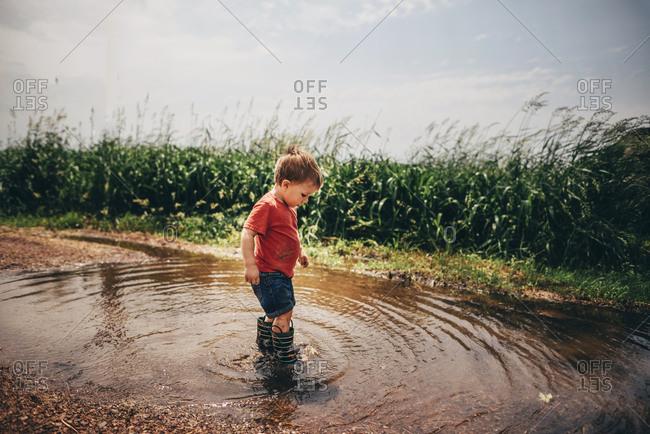 Toddler boy wading in mud puddles