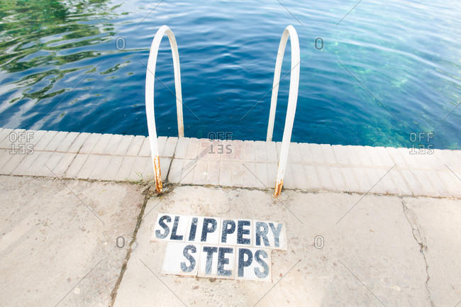 Sign for slippery steps