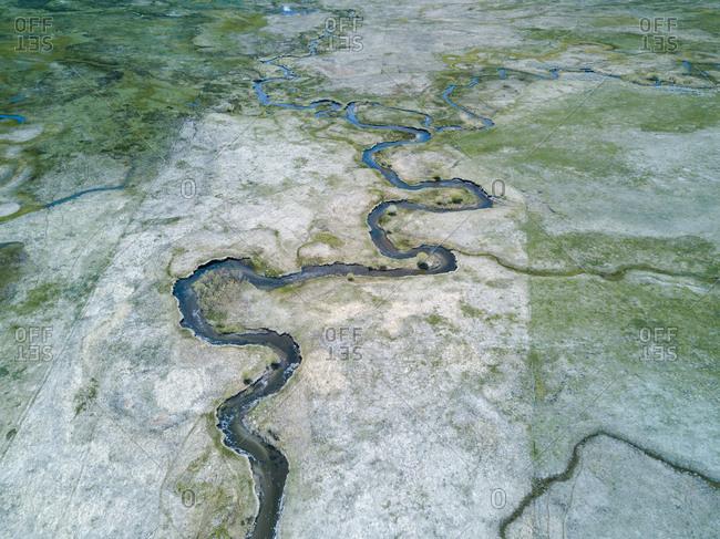 Waterways winding in desert in California