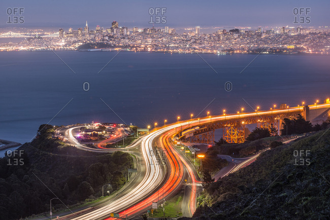 Blurred lights of San Francisco at night