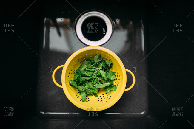 Fresh mint leaves in a strainer