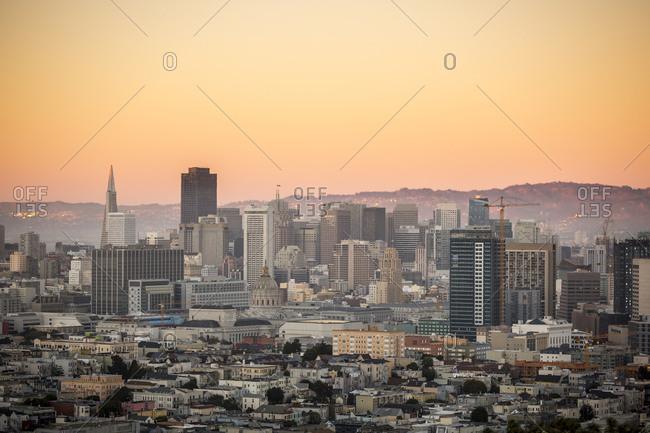 San Francisco, CA - October 8, 2014: Views of San Francisco from the top of Bernal Hill in SF, California