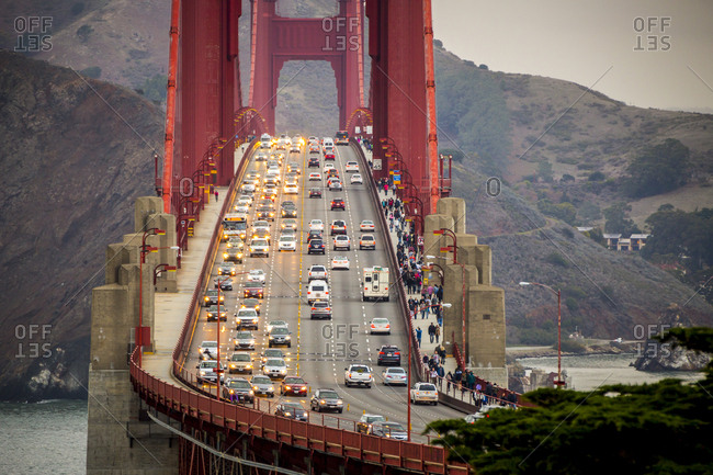 San Francisco, CA - November 29, 2014: Views of traffic crossing the Golden Gate Bridge as viewed from The Presidio in the Golden Gate National Recreation Area in San Francisco, California