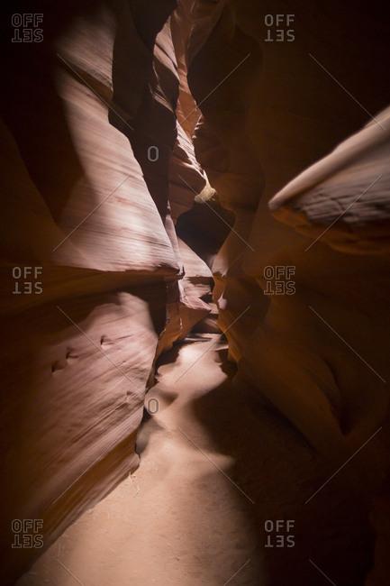 Exploring Upper Antelope Canyon on Navajo Tribal Park land in Arizona, USA