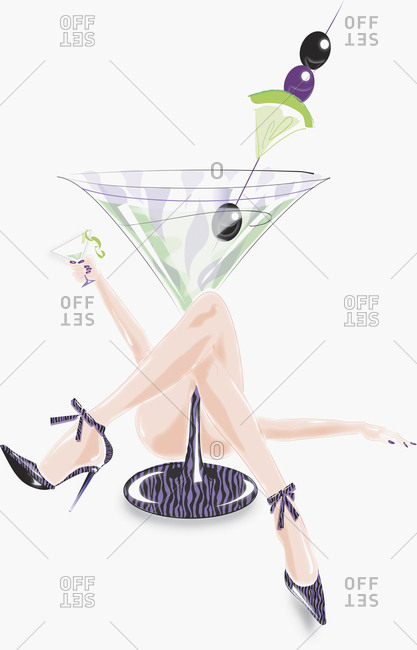 Sexy woman laying underneath large cocktail glass