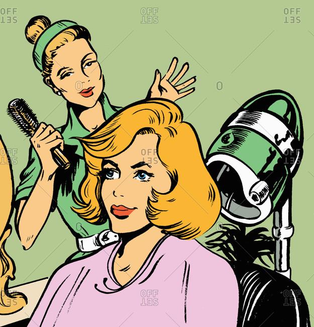 Hairdresser admiring client's hair