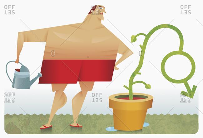 Man watering plant shaped like male symbol