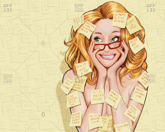 Woman covered with reminder adhesive notes