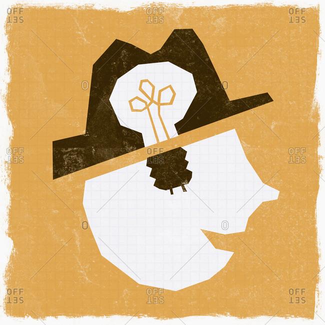 Light bulb in man's head
