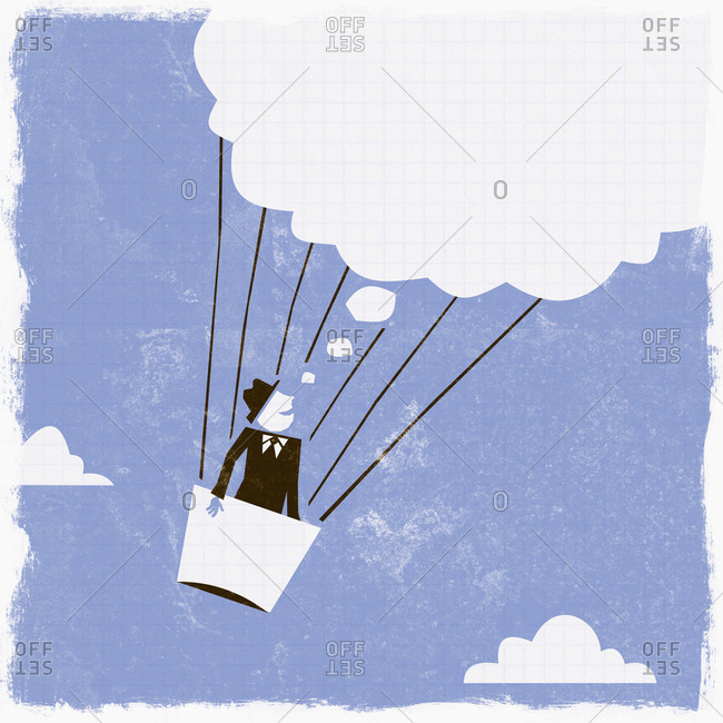 Thought bubble above businessman in hot air balloon