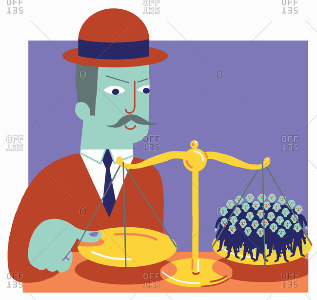 Large businessman putting finger on scale with lots of people on the other balance tray