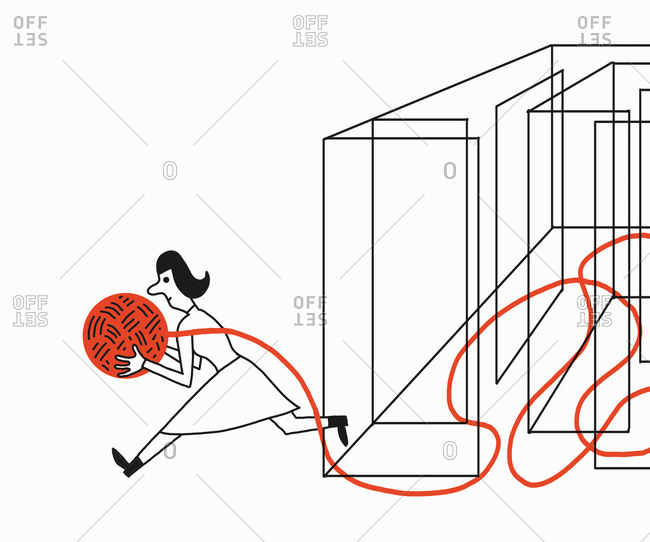 Woman holding ball of wool escaping maze