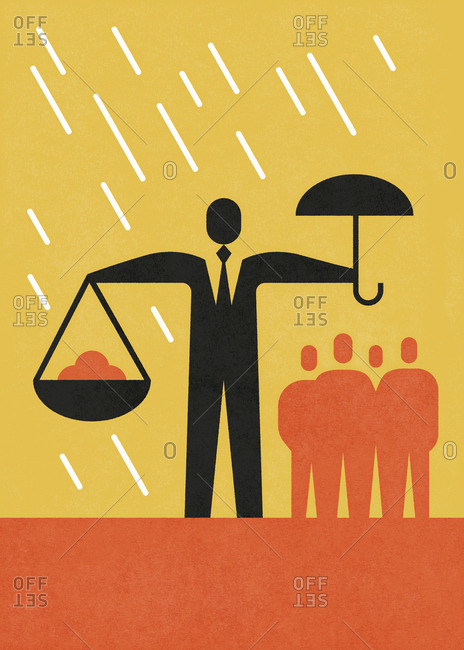Businessman holding umbrella in one hand and diagrams in the other