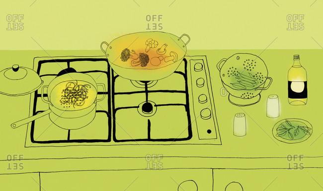 Preparing food on gas stove