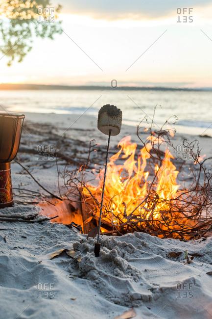 Marshmallow roasting on beach fire