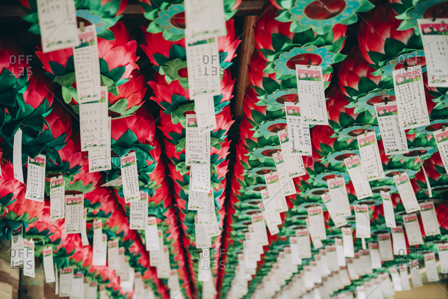 Gyeongju, South Korea - April 18, 2017: Lotus shaped lanterns hanging from the celling in the Bulguksa Temple